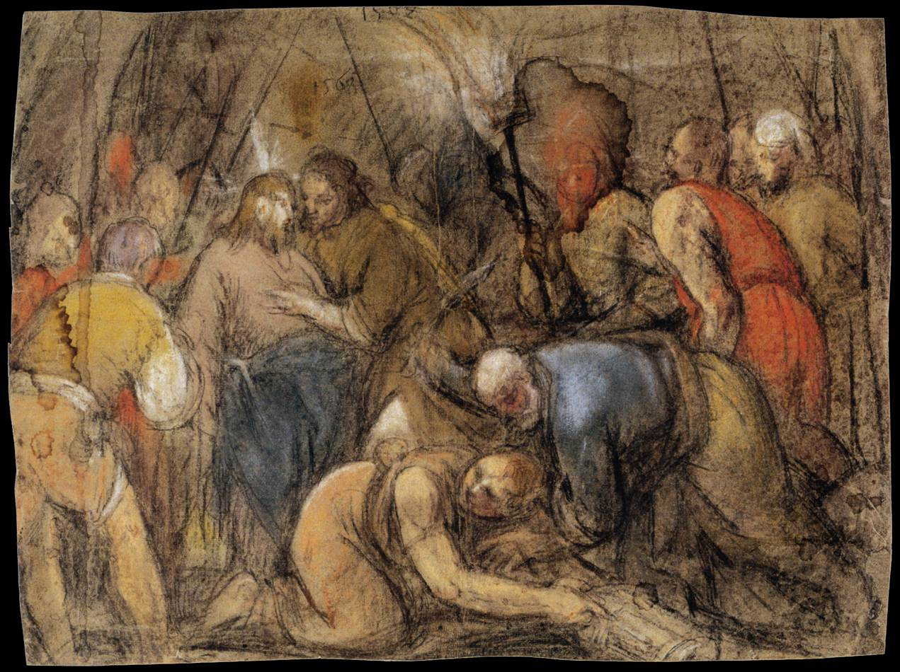 bassano jacopo - The Betrayal of Christ. 1568. Pastel over charcoal on faded blue paper. 413 x 549 mm. Louvre Museum, Paris.