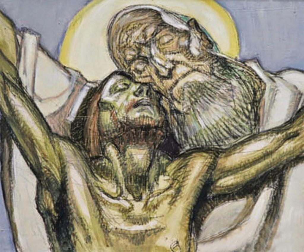 Jesus en la cruz con el Padre
